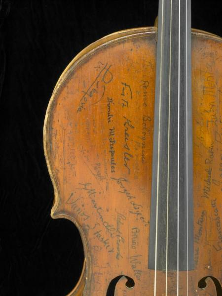 Signatures on the upper bass side of the Rovatti Cello